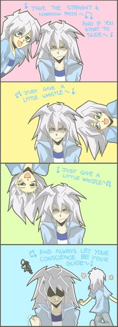 Yami Bakura has his eyes on Bakura, and he doesn't like him that much. Poor Bakura!! He and his alter ego DON'T have that brotherly love that Yugi and Yami have.