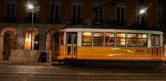 yellow tram at night. Lisbon, Portugal