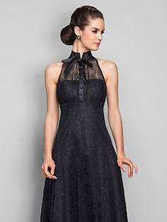 A-line High Neck Ankle-length Lace Evening Dress (699490) | LightInTheBox