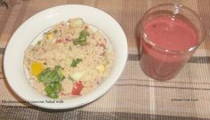 Mediterranean couscous salad with cactus pear smoothie