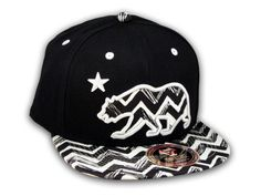 ★ This is a High Quality Zigzag California Republic Bear on Black Baseball Snapback Cap! It's an adjustable Snapback with Flat Brim Visor, from Top Level. It has California Republic Bear in 3D Embroidered Stitching on Black and White Zigzag Pattern with Star! Underside of bill is the same Zigzag Pattern. Back has a California Bear and Star in Raised Silver and White Stitching! [$12.97]