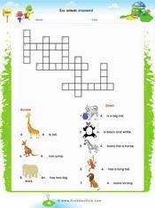 Zoo Animals Crossword Worksheet
