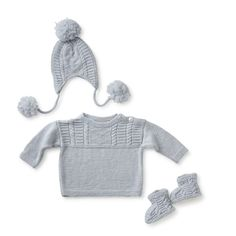 Gone Fishin' Layette  Hand knit cashmere hat with pom poms, sweater and slippers (lined with plush shearling)  http://bit.ly/1q9RjfV