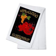 Vini di Lusso (Codognato) Italy 1921 - Vintage Ad (100% Cotton Towel Absorbent), Blue wash