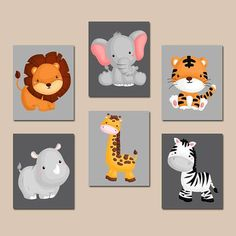 JUNGLE Animal Wall Art Baby Boy Animal Nursery Artwork