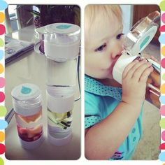 Ready to start our day with our Define Bottles! Rosalie is a huge fan of Strawberry Cantaloupe. Me...lemon and cucumber.