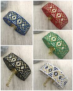 Manchettes TANYAH - Bracelet manchette tissé en perles miyuki délicas