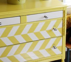 diy Herringbone painted dresser