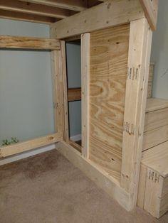 closed off end of bed but left access to under steps Diy Bed, Garages, Garage Doors, Loft, Bedroom, Outdoor Decor, Furniture, Home Decor, Wood