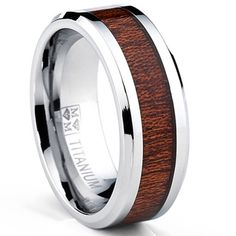 Watches - Oliveti Men's Titanium Real Wood Inlay Flat Top Band Comfort-fit Ring (8 mm) - $29.49 | Get paid up to 7.5% Cashback when you shop at Overstock.com with your DubLi membership. Not a member? Sign up for FREE at www.downrightdealz.net