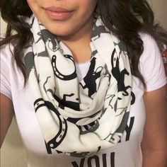 Infinity Western horse scarf Black and gray western infinity scarf only used 3 times, it's in great conditions and it looks great on. Accessories Scarves & Wraps
