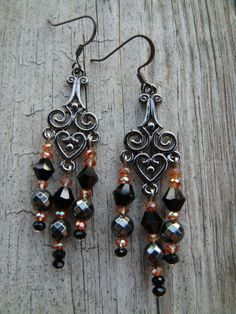 Hurry!!!  Only one set left on Etsy!  Handmade by my daughter with Love is a Seed Design Jewelry. http://www.etsy.com/listing/116333998/night-owl-chandelier-earrings-by-love-is  https://www.facebook.com/LoveisaSeedDesigns