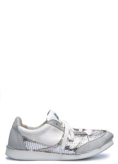 Sneaker in off-white and silver tones from Moma. A round toe, lace up closure. Mix of suede, cow leather and leather in serrated geometric effect in silver tone. Cotton laces. Extra light rubber sole. Pull loop at heel collar. Leather lining.  Item Code: 170102  Materials: leather, rubber  Made in Italy