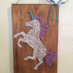 Unicorn String Art by SignsAndSuchCrafts on Etsy Nail String Art, String Crafts, Kids Crafts, Diy And Crafts, Arts And Crafts, String Art Patterns, Doily Patterns, Dress Patterns, Unicorns And Mermaids