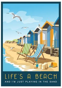 Vintage Travel Art Travel Poster Life's a Beach. Beach Huts on a by WhiteOneSugar - British Beaches, British Seaside, Seaside Beach, Beach Art, Beach Huts Art, Beach Play, Seaside Art, Cumbria, Vintage Beach Posters