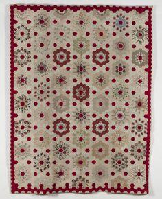 Turkey Red Hexagon Rosettes Coverlet
