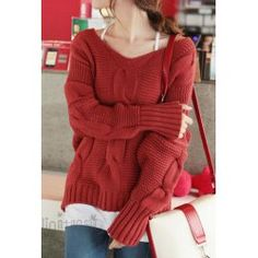 $14.58 Bat-Wing Sleeves Casual Style Acrylic Solid Color V-Neck Sweater For Women