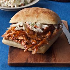 BBQ Chicken Sandwiches | I used chicken breast. This turned out pretty good, next time I'll marinate the chicken.
