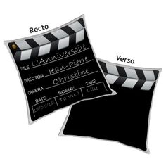 PERSONNALISABLE: Coussin Clap de Cinéma. Ajouter votre texte!