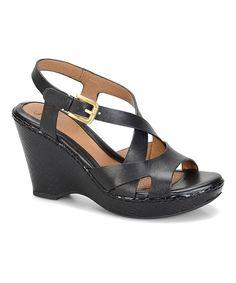 Söfft Black Vivien Leather Wedge Sandal by Söfft #zulily #zulilyfinds