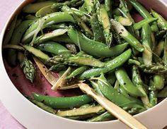 """Asparagus and Sugar-Snap Toss           1 1/2 tsp olive oil    1 1/2 lb asparagus, trimmed and cut into 1"""" pieces    1 Tbsp water    1/2 lb sugar-snap peas, ends trimmed and strings removed    3 scallions, sliced    1 1/2 tsp reduced-sodium soy sauce    1 1/2 tsp honey"""