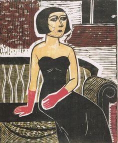 """Gilvan Samico: Dama com luvas (1959), xilogravura do catálogo da exposição """"Samico: do desenho à gravura"""""""