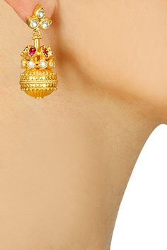 Gold plated pearl matki earrings available only at Pernia's Pop-Up Shop.