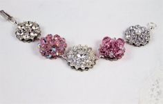 Vintage earring bracelet pink crystals clear by madebysheri, $37.00