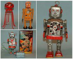 vintage tin toy robots Vintage Robots, Vintage Toys, Classic Ro, Science Fiction, Atomic Decor, Domo Arigato, Retro Rocket, Space Toys, Vintage Space
