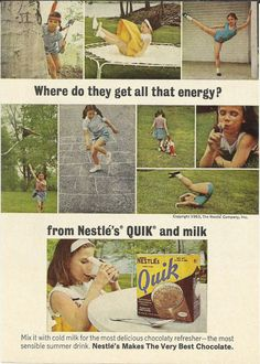 Nestle's Quik Original 1963 Vintage Print Ad by VintageAdarama, $9.99