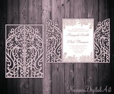 5x7'' Gate Fold Door  Wedding Invitation Card Template, Quinceanera, laser cut, SVG DXF CDR cutting file, Silhouette Cameo, Cricut template by NarisariDigitalArt on Etsy