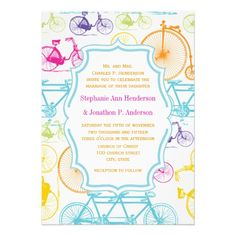 Bright Colors Vintage Bicycle Pattern Wedding Personalized Invitations