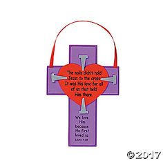 A fun craft for VBS, these inspirational Easter crosses are printed with this special Bible quote: The nails didn't hold Jesus to the cross. It was His ...