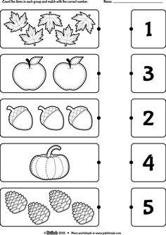 Fall Preschool Activities, Printable Preschool Worksheets, Preschool Writing, Numbers Preschool, Kindergarten Math Worksheets, Free Preschool, Preschool Lessons, Preschool Curriculum, Free Math
