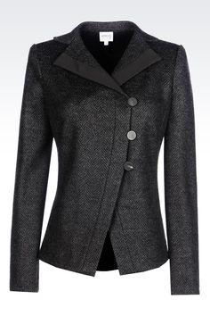 JACKET IN CHEVRON DESIGN JACQUARD WOOL BLEND: Dinner jackets Women by Armani - 0