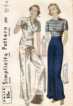1930's Simplicity 2395 Slacks and Jacket Pattern Bust 38