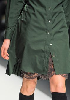 Sacai FW 2012-13 - Paris - StyleZeitgeist. Structured button down dress in muted or jewel tones with complimentary lace underneath