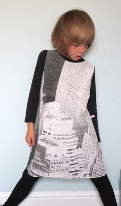Upcycled Skyscraper fabric pinafore dress