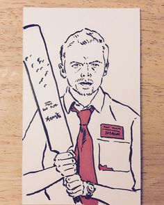 Warm up sketch from one of my all time favorite films #ShaunoftheDead #illustration #gotredonyou