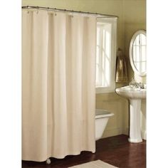 Solid LINEN Microfiber Shower Curtain Or Liner In White But You Can Also Get It
