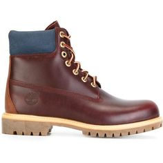 Timberland lace-up boots ($225) ❤ liked on Polyvore featuring men's fashion, men's shoes, men's boots, red, mens leather lace up boots, timberland mens shoes, mens lace up shoes, mens red shoes and mens leather boots