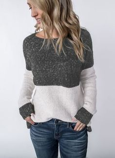 Autumn Winter Women Knitted Sweaters Fashion Patchwork Long Sleeve Sweater Tops Female Casual O-Neck Sweater Pullovers Plus Size Sweaters, Casual Sweaters, Sweaters For Women, Winter Sweaters, Long Sweaters, Long Sleeve Sweater, Long Sleeve Tops, Sweater Shirt, Pullover Mode