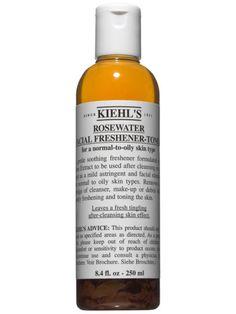Reduce the sight of pores by splashing on a refreshing toner. Try Kiehl's Rosewater Facial Freshener-Toner, $16.00, kiehls.com.