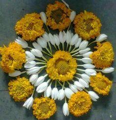 Flowers with flowers. Rangoli Designs Flower, Rangoli Ideas, Flower Rangoli, Beautiful Rangoli Designs, Flower Mandala, Flower Designs, Flower Art, Easy Rangoli, Diwali Decorations
