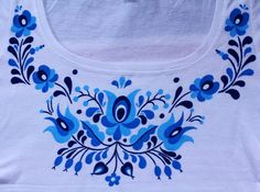 HAND PAINTED hungarian folk art T-shirt with blue by LiliFolkShop