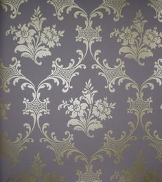 Ladies Slipper Wallpaper Orchid and rose design in light gold with filigree circle with mauve background