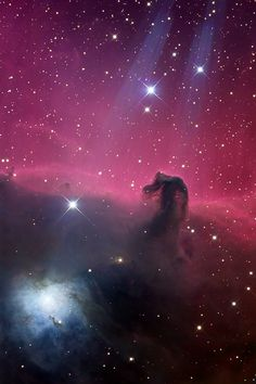 Contrasting blue reflection nebula NGC 2023 is visible on the lower left. In this gorgeous color image, both Horsehead and NGC 2023 seem to be caught in beams of light shining from above -- but the beams are actually just internal reflections from bright star Sigma Orionis, just off the upper edge of the view.