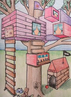Mini Matisse: 7th Grade - 2 point perspective Tree House