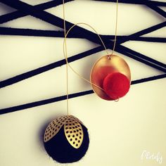 Brass and felt necklace