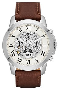 Free shipping and returns on Fossil 'Grant' Automatic Leather Strap Watch, 44mm at Nordstrom.com. A fine automatic watch with Roman-numeral indexes features day, date and 24-hour subdials on an intriguing skeleton dial. The smooth, topstitched leather strap completes the debonair style.